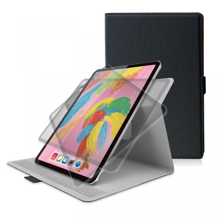 ソフトレザー フラップカバー 360度回転 ブラック iPad Pro 2018 11インチ_0