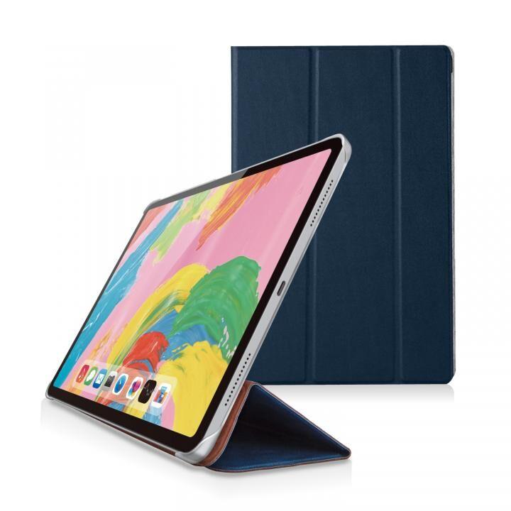 ソフトレザー フラップカバー 背面クリア ブルー iPad Pro 2018 11インチ_0