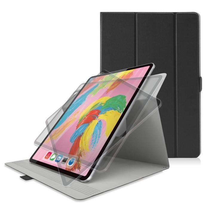 ソフトレザー フラップカバー 360度回転 ブラック iPad Pro 2018 12.9インチ_0