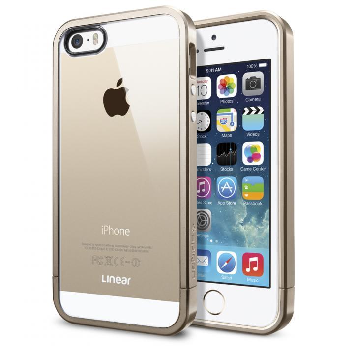 フレームを変えて印象チェンジ リニア クリスタル シャンパン・ゴールド iPhone SE/5s/5ケース