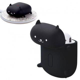 無線充電アニマルデザインシリコンAirPodsケース 黒ネコ