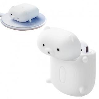 無線充電アニマルデザインシリコンAirPodsケース 白クマ