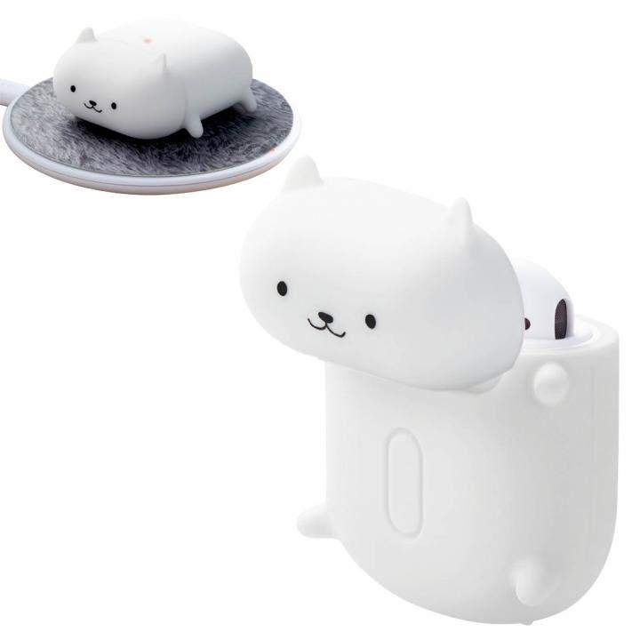 無線充電アニマルデザインシリコンAirPodsケース 白ネコ_0