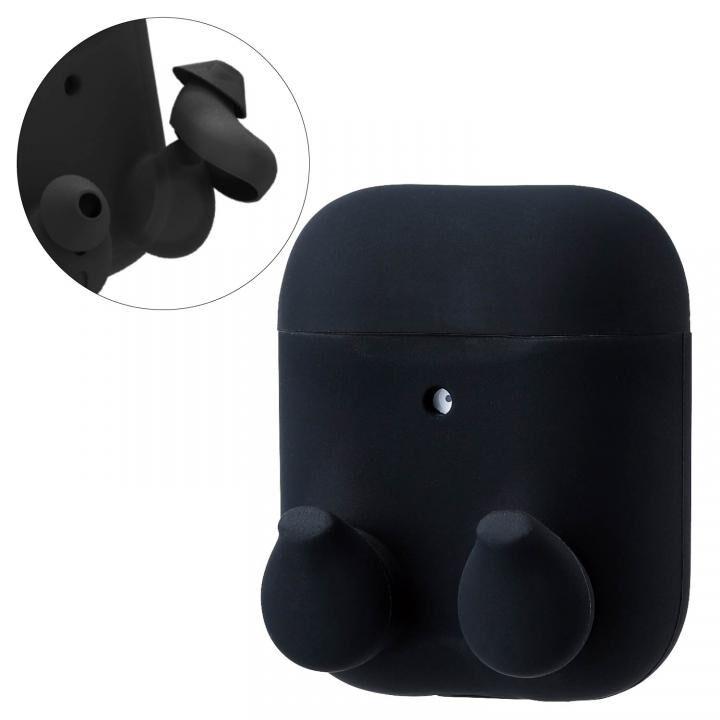 無線充電イヤホンカバーAirPods用シリコンケース ブラック_0