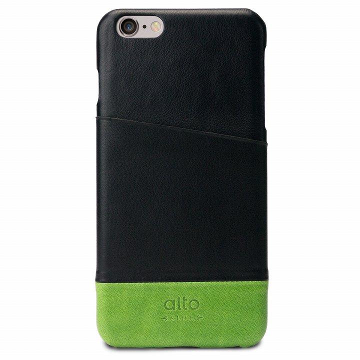 【iPhone6s Plus/6 Plusケース】イタリア製本革ケース カードホルダー搭載 alto Metro ブラック/グリーン iPhone 6s Plus/6 Plus_0