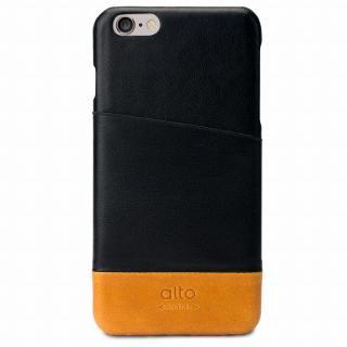 イタリア製本革ケース カードホルダー搭載 alto Metro ブラック/ブラウン iPhone 6 Plus