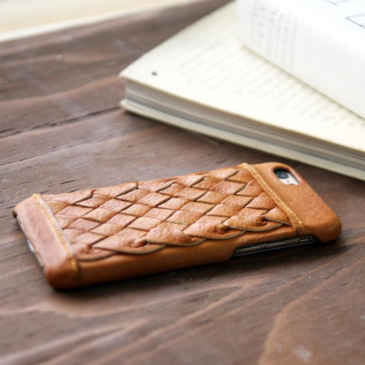 【iPhone6s/6ケース】牛革編み込みケース ブラウン iPhone 6s/6_0
