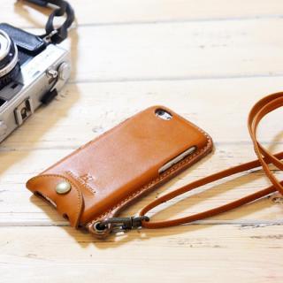 ネックストラップ付き レザーケース andante キャメル iPhone 6