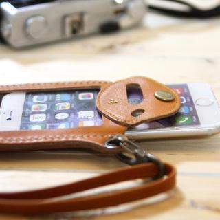 【iPhone6ケース】ネックストラップ付き レザーケース andante キャメル iPhone 6_1