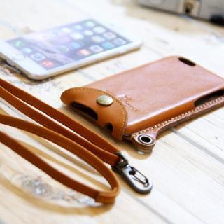 【iPhone6ケース】ネックストラップ付き レザーケース andante キャメル iPhone 6_2