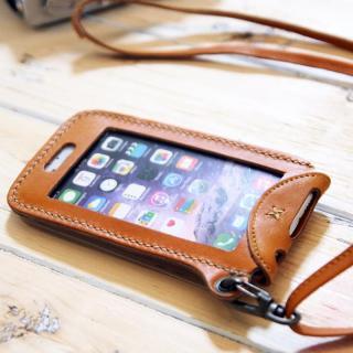 【iPhone6ケース】ネックストラップ付き レザーケース andante キャメル iPhone 6_4