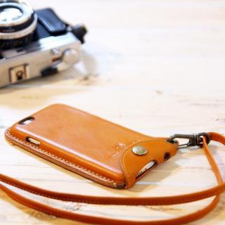 【iPhone6ケース】ネックストラップ付き レザーケース andante キャメル iPhone 6_5