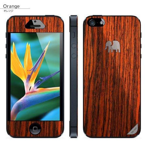 iPhone SE/5s/5 ケース 木製背面スキンシート TRUNKET オレンジ iPhone SE/5s/5_0