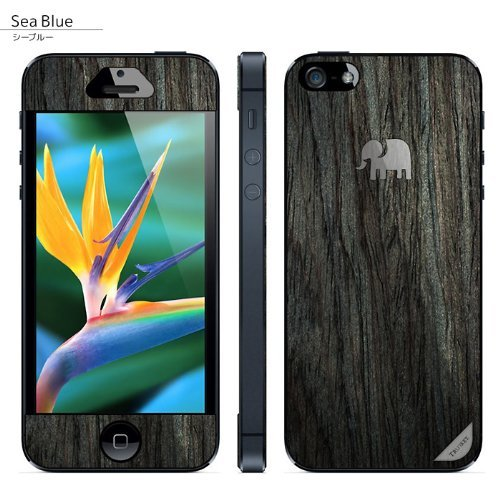 iPhone SE/5s/5 ケース 木製背面スキンシート TRUNKET シーブルー iPhone SE/5s/5_0