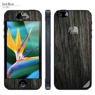 iPhone SE/5s/5 ケース 木製背面スキンシート TRUNKET シーブルー iPhone SE/5s/5