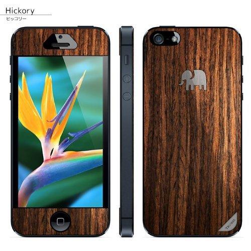 iPhone SE/5s/5 ケース 木製背面スキンシート TRUNKET ヒッコリー iPhone SE/5s/5_0