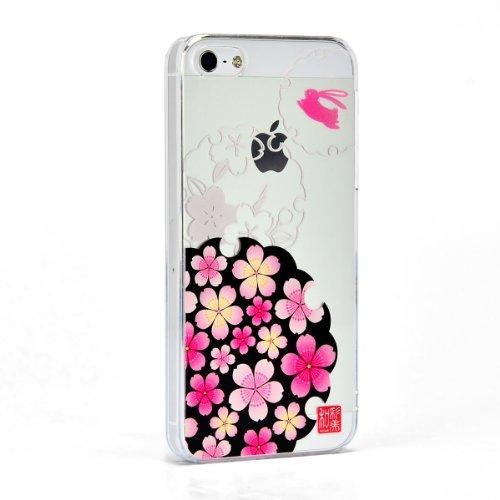 【iPhone SE/5s/5ケース】和彩美 ふるる 堅装飾ケース 桜に雪輪兎 iPhone SE/5s/5ケース_0