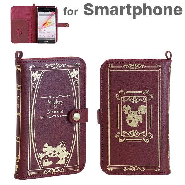 iPhone6/SE/5s/5 ケース ディズニーキャラクター/Old Book 手帳型ケース スマートフォン ミッキー&ミニー/バーガンディ_0