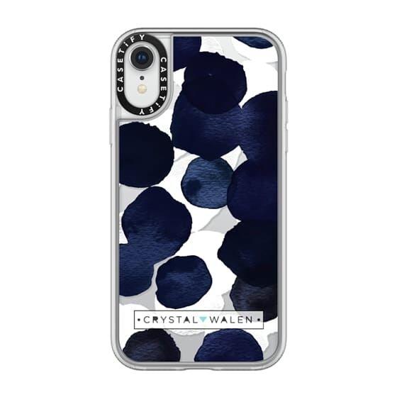 iPhone XR ケース Casetify Indigo White Dots Clear Grip Case iPhone XR_0