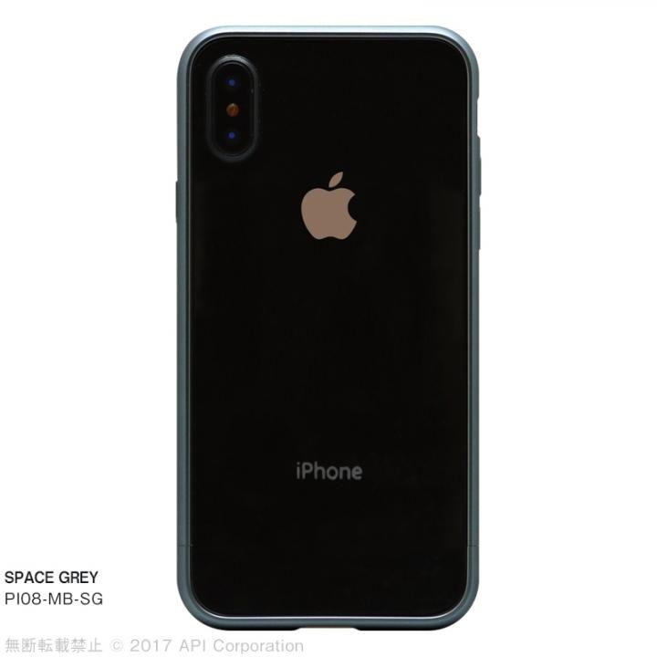 iPhone X ケース クリスタルアーマー メタルバンパー  スペースグレイ iPhone X_0