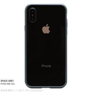 【iPhone X ケース】クリスタルアーマー メタルバンパー  スペースグレイ iPhone X