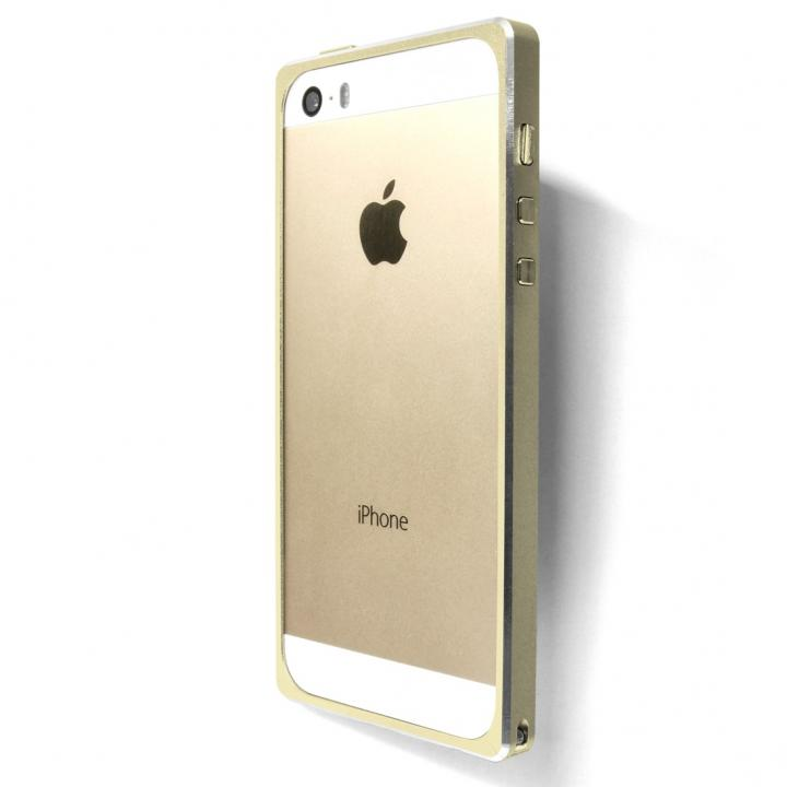直線が美しいアルミバンパー GRAMAS Metal Bumper 513  iPhone SE/5s/5 ゴールド