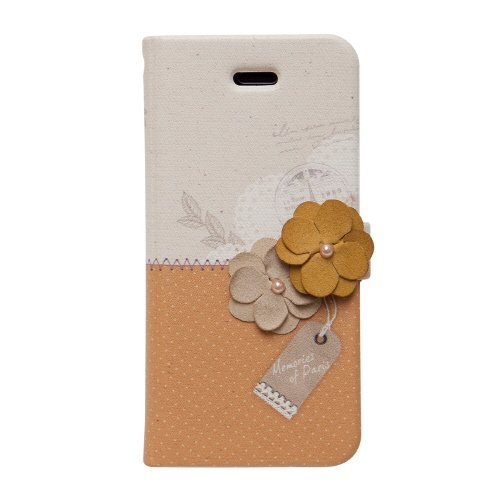 【iPhone SE/5s/5ケース】iPhone SE/5s/5 手帳型ケース Memories of Paris Diary マスタード_0