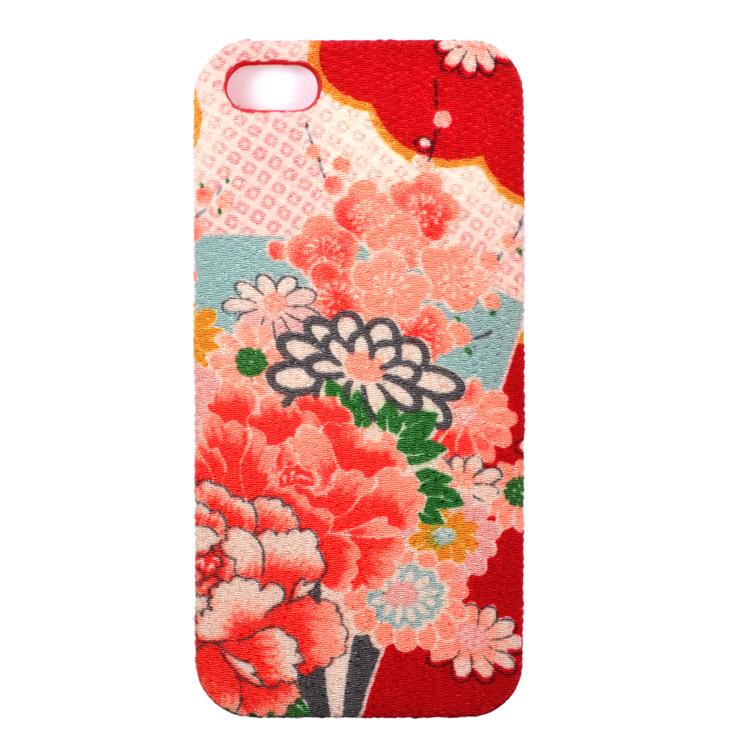 iPhone SE/5s/5 ケース iPhone5用カバーちりめん(綸子赤)