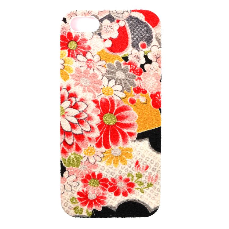 iPhone SE/5s/5用カバーちりめん(綸子黒)