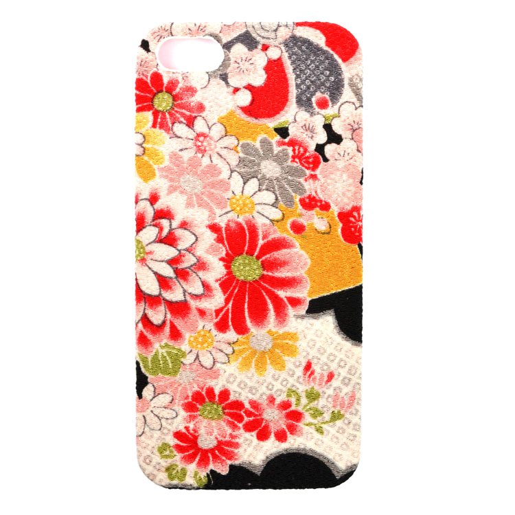 iPhone SE/5s/5 ケース iPhone SE/5s/5用カバーちりめん(綸子黒)_0