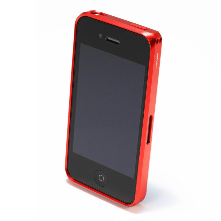 【iPhone4/4s】GRAMAS メタルバンパー 01シリーズ(レッド)